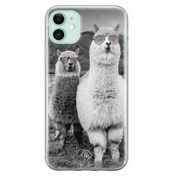 Casimoda iPhone 11 siliconen hoesje - Llama hipster