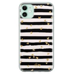 Casimoda iPhone 11 siliconen hoesje - Hart streepjes