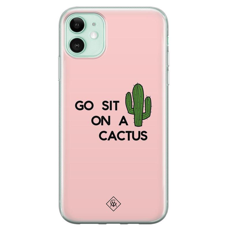 Casimoda iPhone 11 siliconen hoesje - Go sit on a cactus