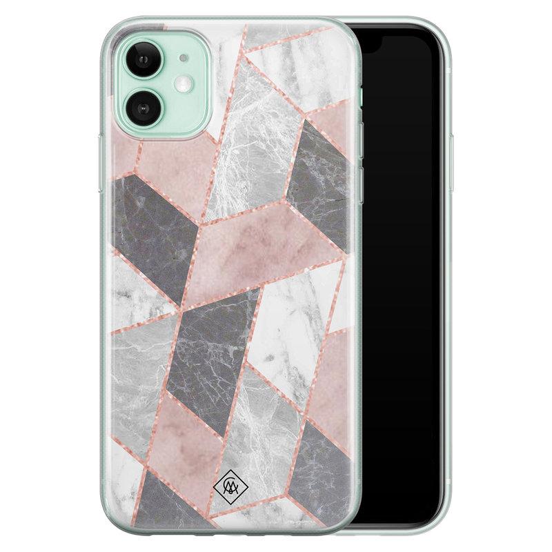 Casimoda iPhone 11 siliconen telefoonhoesje - Stone grid