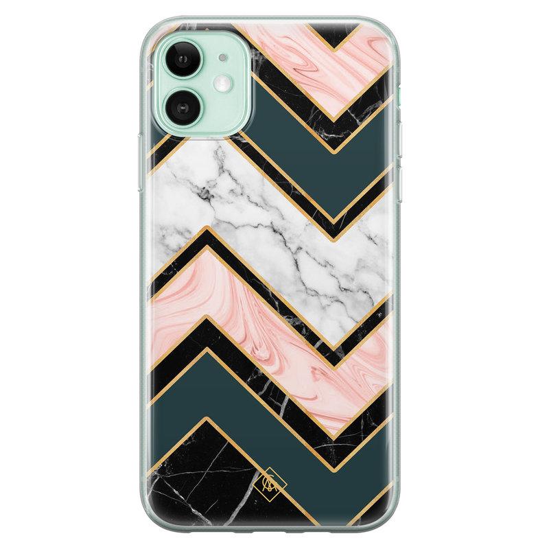 Casimoda iPhone 11 siliconen hoesje - Marmer triangles