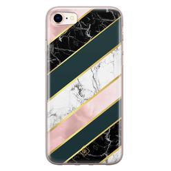 Casimoda iPhone 8/7 siliconen hoesje - Marble stripes
