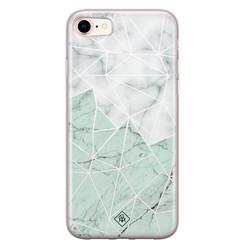 Casimoda iPhone 8/7 siliconen hoesje - Marmer mint mix