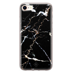 Casimoda iPhone 8/7 siliconen hoesje - Marmer zwart