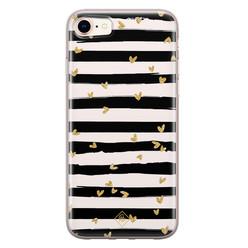 Casimoda iPhone 8/7 siliconen hoesje - Hart streepjes