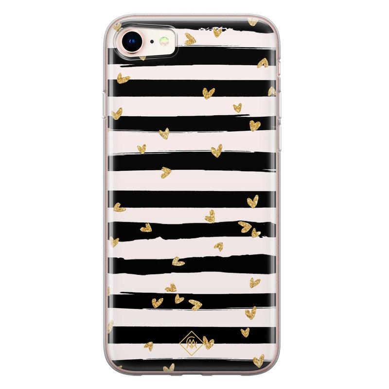 Casimoda iPhone 8/7 siliconen telefoonhoesje - Hart streepjes