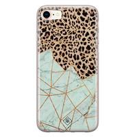 Casimoda iPhone 8/7 siliconen hoesje - Luipaard marmer mint
