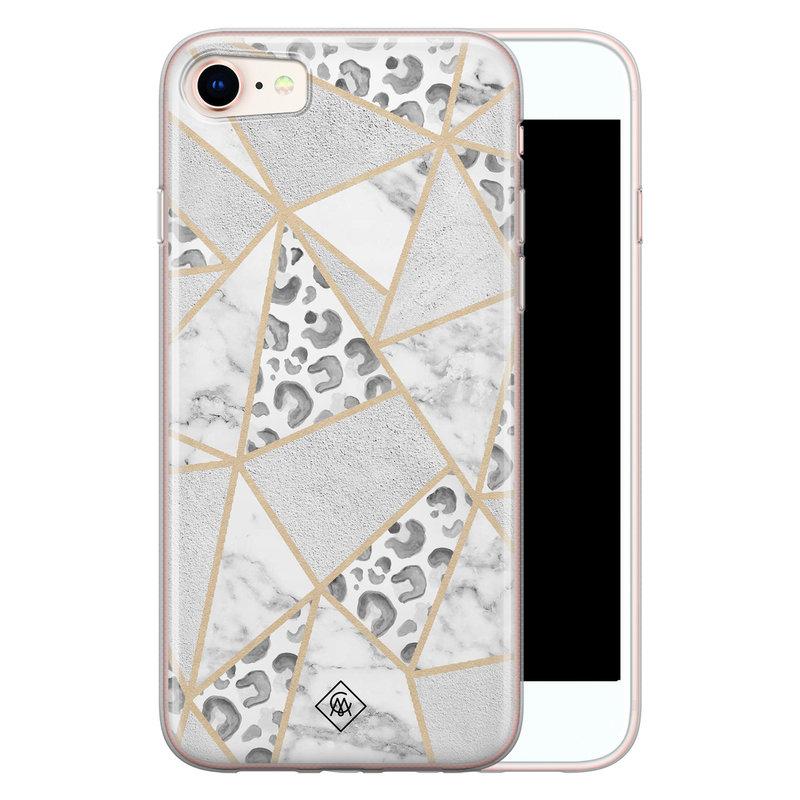 Casimoda iPhone 8/7 siliconen telefoonhoesje - Stone & leopard print