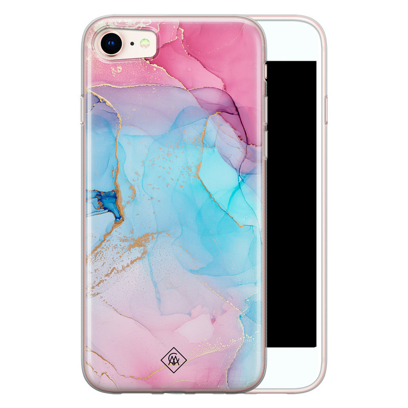 Casimoda iPhone 8/7 siliconen hoesje - Marble colorbomb