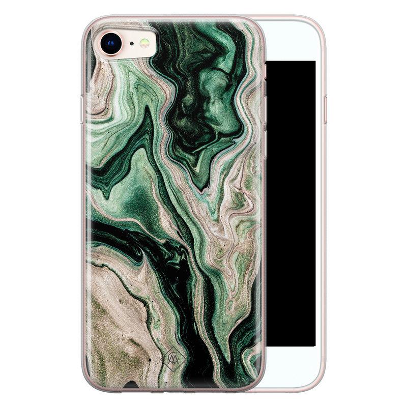 Casimoda iPhone 8/7 siliconen hoesje - Green waves