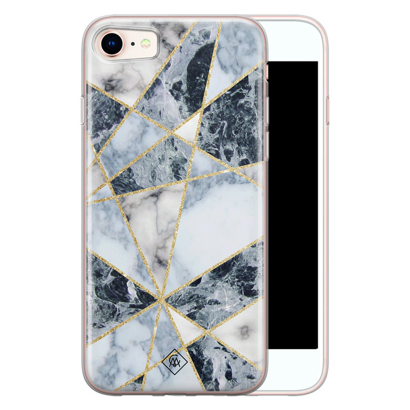 Casimoda iPhone 8/7 siliconen hoesje - Marmer blauw