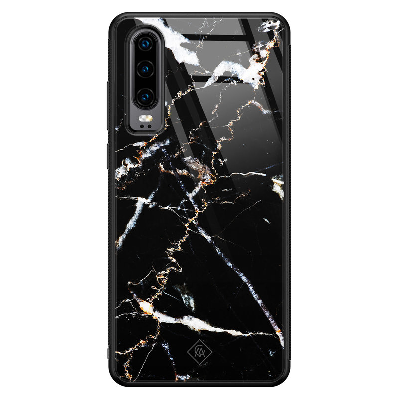 Casimoda Huawei P30 glazen hardcase - Marmer zwart