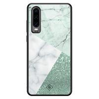 Casimoda Huawei P30 glazen hardcase - Minty marmer collage