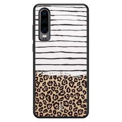 Casimoda Huawei P30 glazen hardcase - Leopard lines