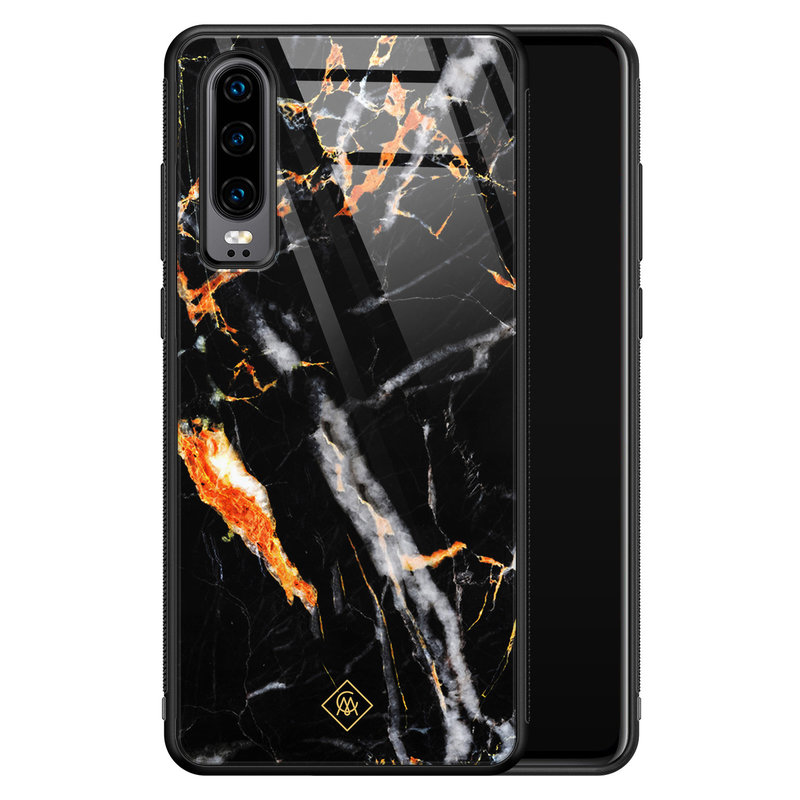 Casimoda Huawei P30 glazen hardcase - Marmer zwart oranje