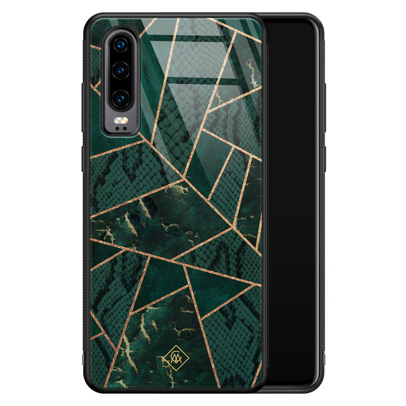 Casimoda Huawei P30 glazen hardcase - Abstract groen
