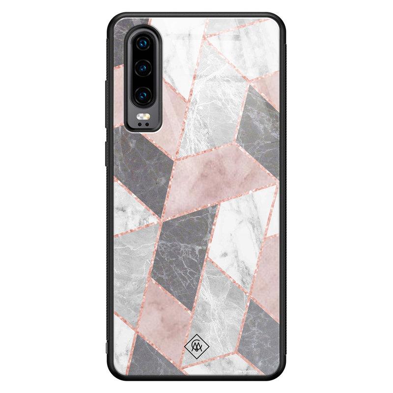 Casimoda Huawei P30 glazen hardcase - Stone grid