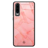 Casimoda Huawei P30 glazen hardcase - Marmer roze