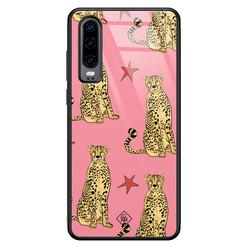 Casimoda Huawei P30 glazen hardcase - The pink leopard