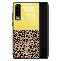 Casimoda Huawei P30 glazen hardcase - Luipaard geel
