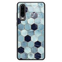 Casimoda Huawei P30 glazen hardcase - Blue cubes