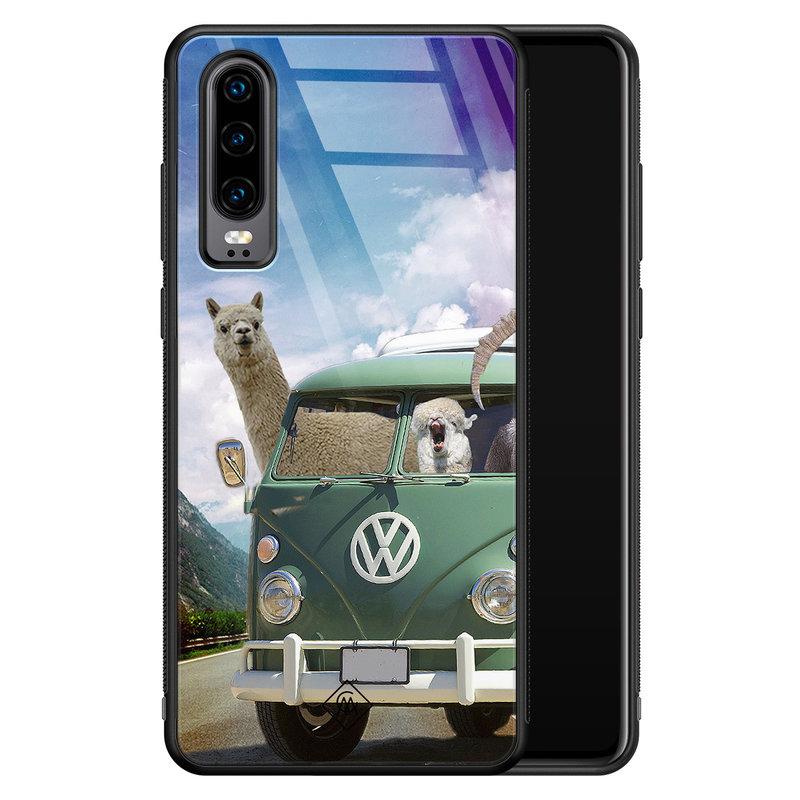 Casimoda Huawei P30 glazen hardcase - Lama adventure