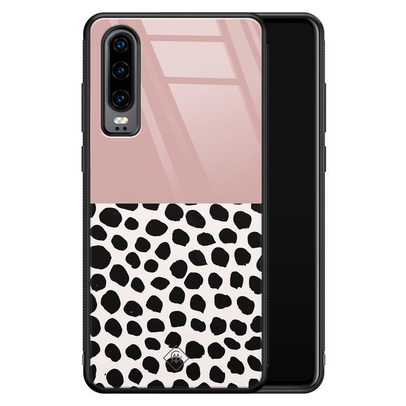 Casimoda Huawei P30 glazen hardcase - Pink dots