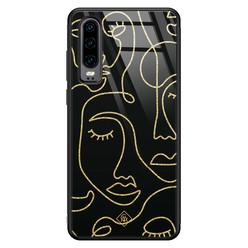 Casimoda Huawei P30 glazen hardcase - Abstract faces