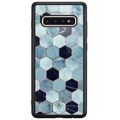 Casimoda Samsung Galaxy S10 glazen hardcase - Blue cubes
