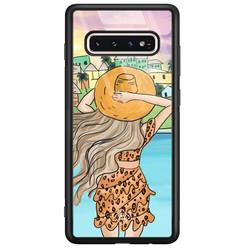 Casimoda Samsung Galaxy S10 glazen hardcase - Sunset girl