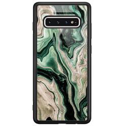 Casimoda Samsung Galaxy S10 glazen hardcase - Green waves