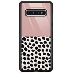 Casimoda Samsung Galaxy S10 glazen hardcase - Pink dots