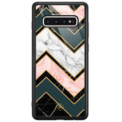 Casimoda Samsung Galaxy S10 glazen hardcase - Marmer triangles