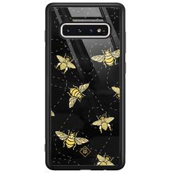Casimoda Samsung Galaxy S10 glazen hardcase - Bee yourself