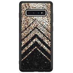 Casimoda Samsung Galaxy S10 glazen hardcase - Chevron luipaard