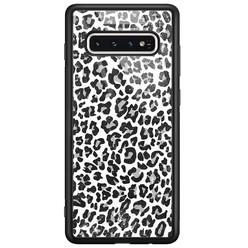 Casimoda Samsung Galaxy S10 glazen hardcase - Luipaard grijs