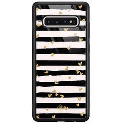 Casimoda Samsung Galaxy S10 glazen hardcase - Hart streepjes