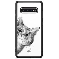 Casimoda Samsung Galaxy S10 glazen hardcase - Peekaboo