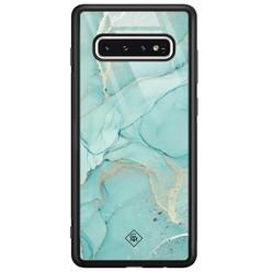 Casimoda Samsung Galaxy S10 glazen hardcase - Touch of mint
