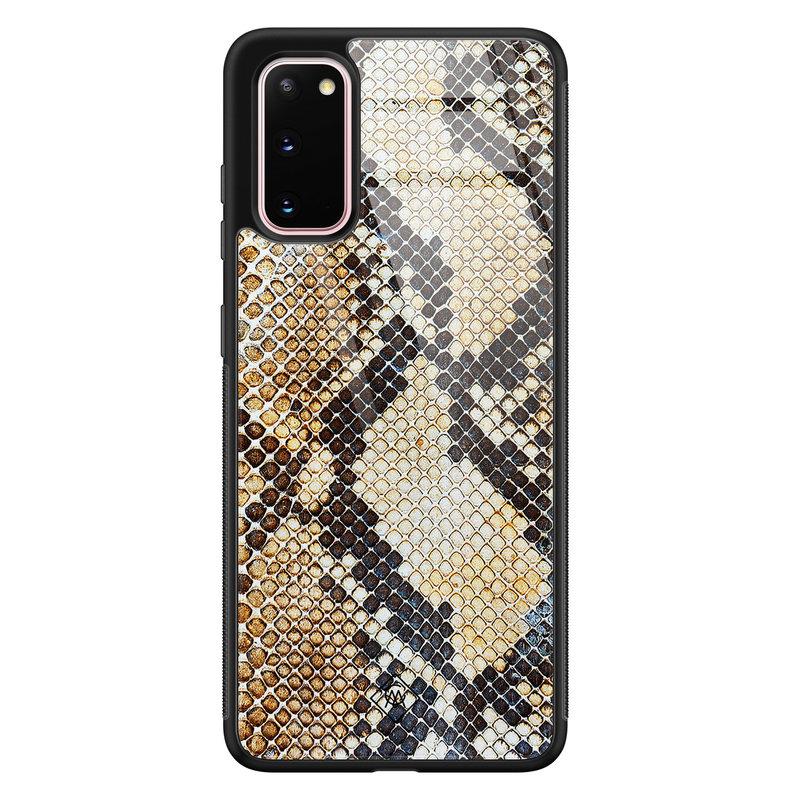 Casimoda Samsung Galaxy S20 glazen hardcase - Golden snake