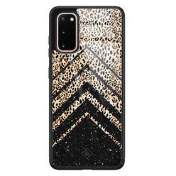 Casimoda Samsung Galaxy S20 glazen hardcase - Chevron luipaard