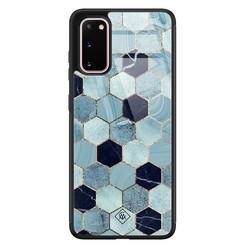 Casimoda Samsung Galaxy S20 glazen hardcase - Blue cubes
