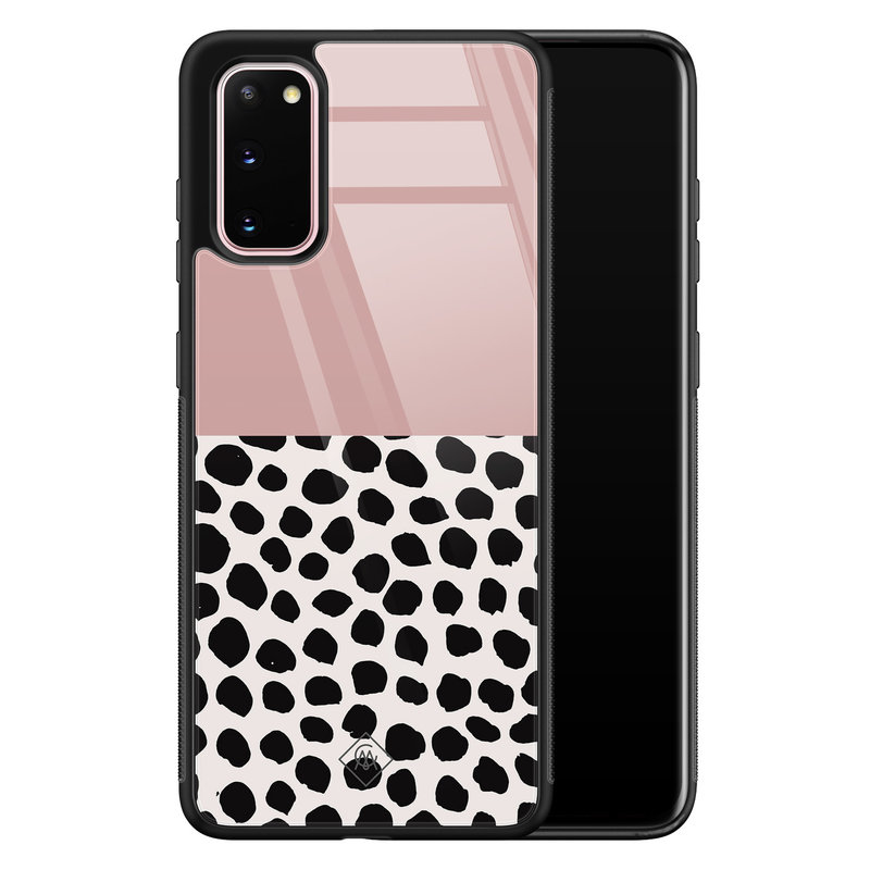 Casimoda Samsung Galaxy S20 glazen hardcase - Pink dots