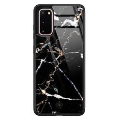 Casimoda Samsung Galaxy S20 glazen hardcase - Marmer zwart