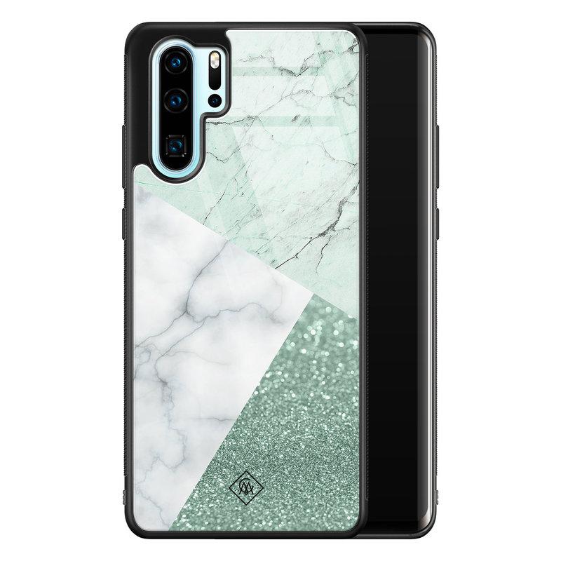 Casimoda Huawei P30 Pro glazen hardcase - Minty marmer collage