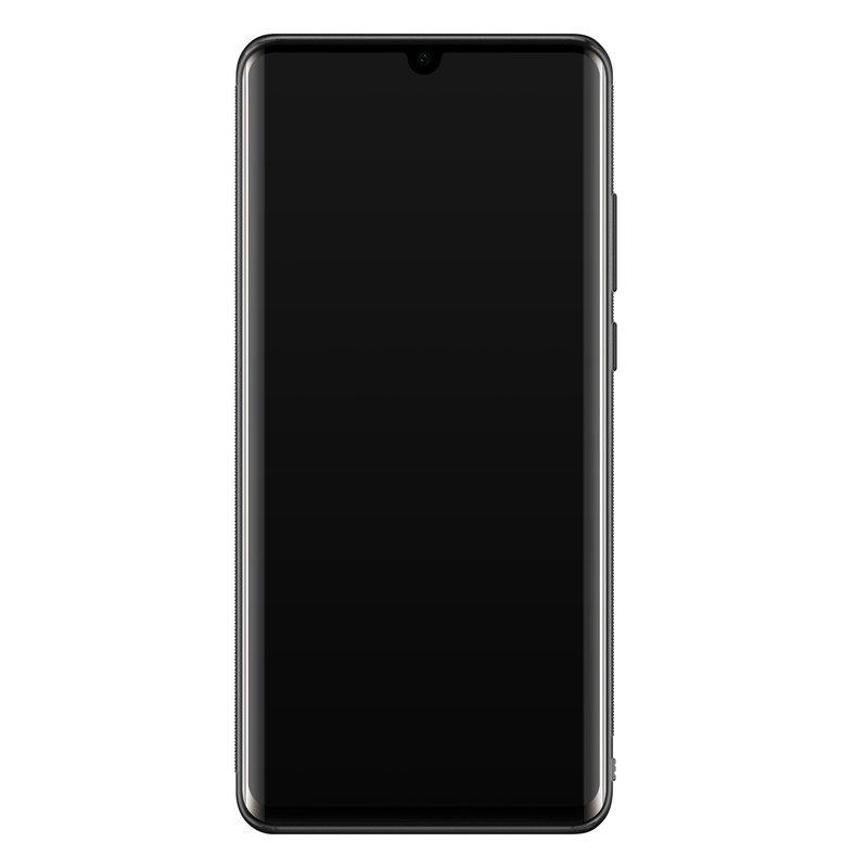 Casimoda Huawei P30 Pro glazen hardcase - Marmer zwart oranje