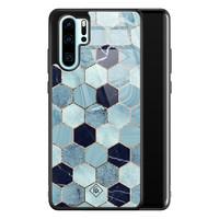 Casimoda Huawei P30 Pro glazen hardcase - Blue cubes