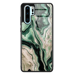 Casimoda Huawei P30 Pro glazen hardcase - Green waves