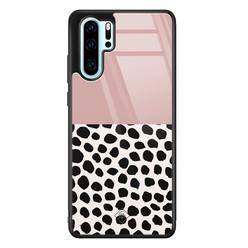 Casimoda Huawei P30 Pro glazen hardcase - Pink dots