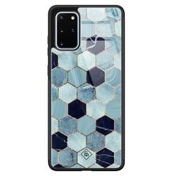 Casimoda Samsung Galaxy S20 Plus glazen hardcase - Blue cubes